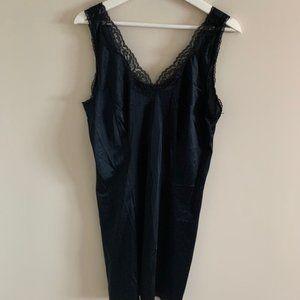 Vintage Black Lace Slip Dress Lingerie Nightgown